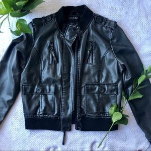 NEW! Faux Leather Bomber Jacket! ❤️
